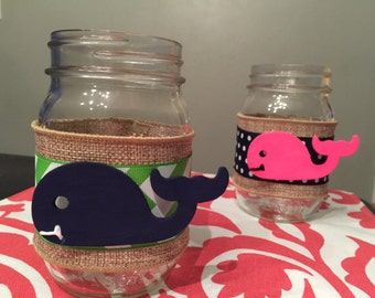 Chevron and Burlap mason Jars with Whale. Great for Wedding Receptions, Bridal Showers and Party Centerpiece