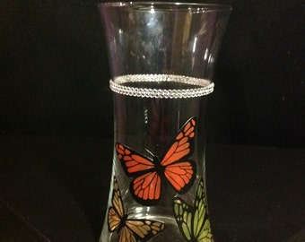 Custom Painted Butterfly Vase with Crystals