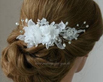Bridal hair comb, lace hair comb, freshwater pearls and rhinestones bridal headpiece, bridal hairpiece, lace headpiece