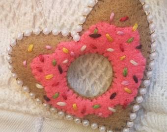 Pink Frosting with Sprinkles Donut Heart Brooch
