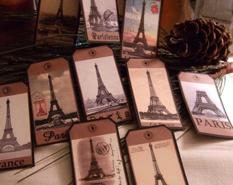 TEN Vintage Paris Eiffel Tower Scrapbook Hang tags, Gift Tags
