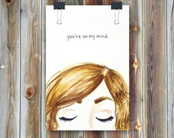 On My Mind // Handmade Watercolor Greeting Card