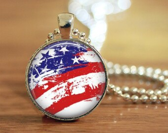 Faded American Flag Pendant Keychain Necklace Jewelry