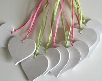 Handmade Wooden White Hearts