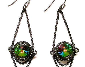 Swarovski Rainbow Crystals Suspended in Dangling Gunmetal Chains Earrings