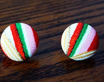 Kimono Fabric Covered Button Earrings