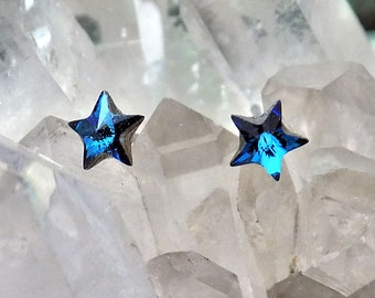 Crystal Earrings 5mm Star Swarovski Rhinestones, Stud-Post Earrings, 1 Pair, Surgical Steel Posts, 5 Colors
