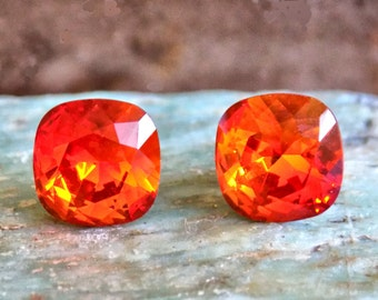 Swarovski Crystal Stud Earrings, 10mm Square Rhinestones, Fire Opal, Surgical Steel Posts and Comfort Clutch