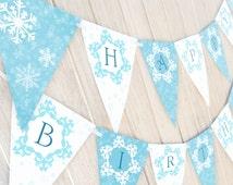 Snow Princess Birthday Banner - PRE-MADE - Winter  Snowflake Banner Pennant
