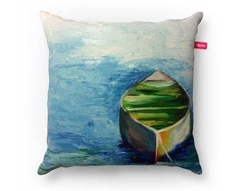 "Boat Decorative Pillow 15""x15"" (38x38 cm)."