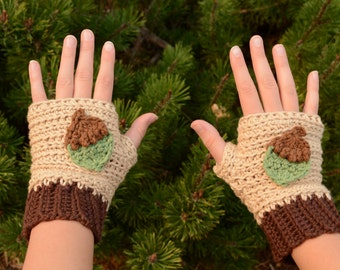 Ready to Ship! Crochet Acorn Fingerless Gloves, Acorn Mitts, Fall Gloves, Gift