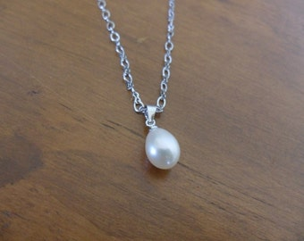 Pearl drop pendant on sterling silver necklace,