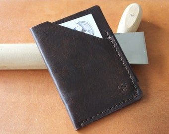 Handmade leather card and cash holder - dark brown