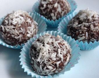 Coconut raw chocolate truffles