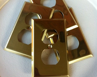Vintage Brass Duplex Outlet Covers - Four (4) Electrical Outlet Plates - The Pictures are Showing a Shadow - These Covers are Clear & Clean