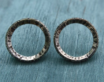 Medium Open Circle Earring / Post Earring / Sterling Silver / Everyday / Hand Formed + Hammered Texture / Oxidized / Patina Perfect Gift