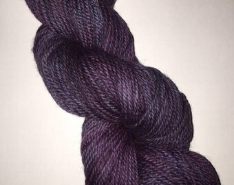 Hand Dyed Worsted Weight Wool yarn - Purple People Eater