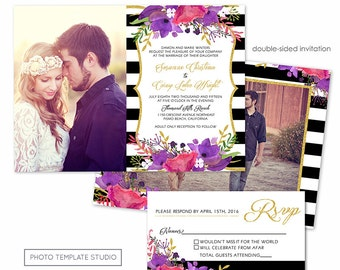 Photoshop Template - Floral Stripes Wedding Invitation - Photo Card 205