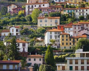 Italy Fine Art Print, Lake Como Village Italy, Lake Como Italy, Italian Architecture, Pastel Stucco Buildings, Northern Italy Photo