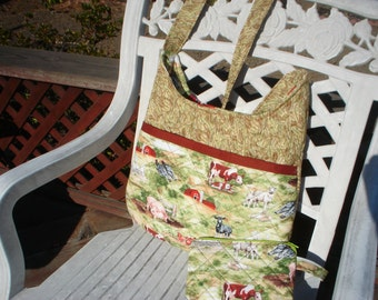 Country Print, Quilted, Cross Body Hobo Style Bag