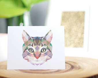 Cat Greeting Card, Handmade, Blank Inside, Black or White Envelope, Polygon