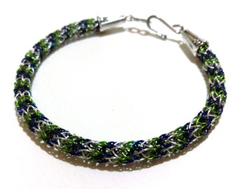 Seahawks Blue, Green, and Silver Viking Knit Bracelet