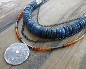 10% OFF!  FREE SHIPPING ! blue kyanite necklace and sterling silver , raw boho necklace , carnelian necklace