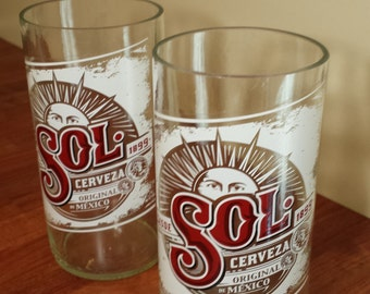 Sol beer bottle drinking glasses x 2