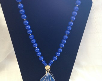 Trifari blue enamel necklace with beads