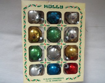 12 Holly Christmas tree ornament in box