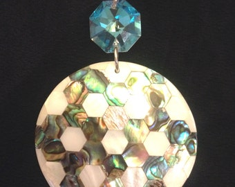SPARKLING SEA Crystal+Abalone+Motherpearl+Sterling Silver Pendant