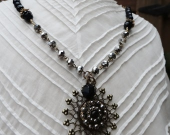 Victorian Jewelled Horn Button Assemblage Necklace - NRU136