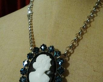 1920's Vintage Blue Sapphire Paste Cameo Assemblage Necklace - NRU037