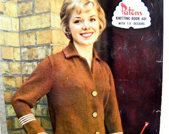 Vintage Mid-century 1960's Patons Knitting Book No. 601 Featuring Patons Bluebell Crepe