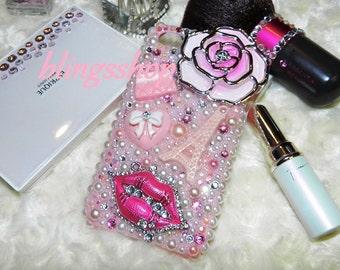 Bling Cellpphone Case Rhinestones Lips Enamel Bling Cover Iphone 4 4S 6 Custom Made Bling Cellphone Case