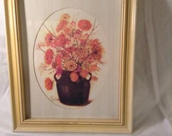 Vintage 1970's framed floral print