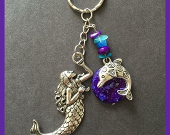 Mermaid and Dolphin keychain