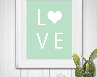 LOVE in green and white Digital Art Printable Download 8X10 11X14