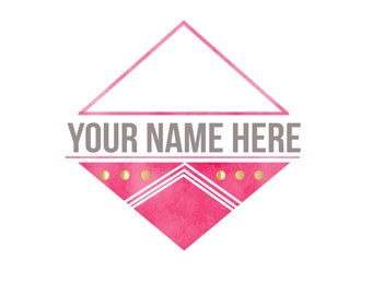 Watercolor Triangles Logo & Watermark Design - Branding - Small Business -  Boutique - Photography - Photographer - Gold - Modern - Pink