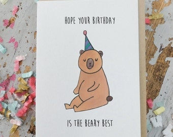 Happy  Birthday Greeting Card - Beary