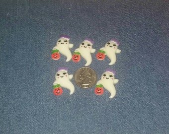 5 Halloween Embellishments, Girl Ghost, Trick or Treat, Resin Embellishment, Acrylic, Flat Back