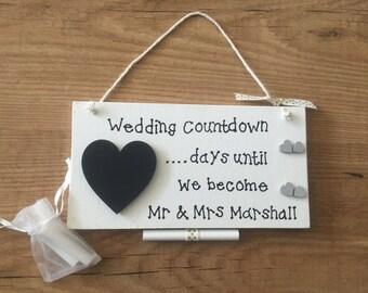 wedding countdown sign bridal shower gift engagement gift fiance gift chalkboard heart