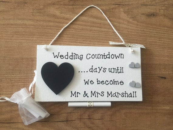 Wedding Countdown Sign Bridal Shower Gift, Engagement Gift ...