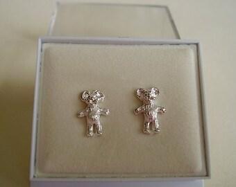 One Pair Sterling Silver Teddy Bear Stud Studs Earrings