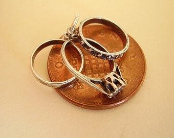 Sterling Silver 3D Wedding, Engagement and Eternity Rings Charm Charms