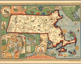 Set of 10 Old Massachusets map's postcards