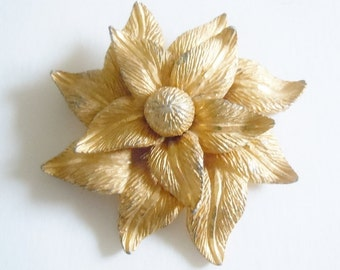 Hobe Jewelry Collectible Gold Brooch Gold Pin Gold Gilt Metal Poinsettia Hobe Pin C Clasp Brooch Vintage Brooch Vintage Pin Designer Jewelry