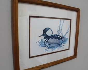 Nancy Shumaker Pallan, Limited Edition Signed Litho Watercolor, Hooded Merganser, Cottage Decor, Lake Decor, Cabin Decor, Bird Painting