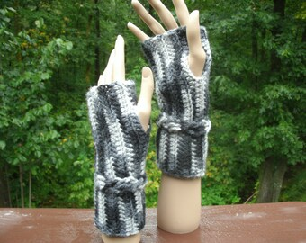 Cable Wristlets Hand Crocheted Original Design Shades of Gray