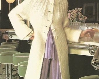 knit womans coat full length with cable yoke full length tunic sweater coat jumper vintage pattern instant download pdf